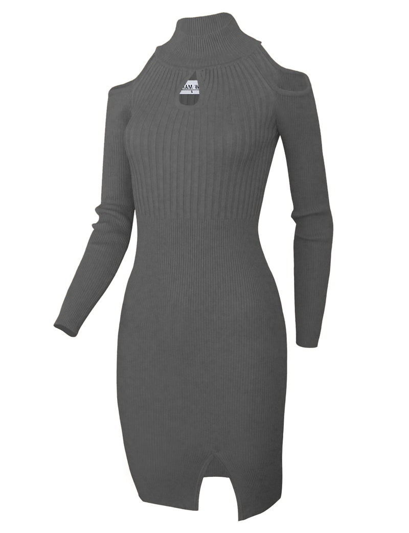 TAM WARE Women's Slim Fit Knit Front Keyhole Sweater Bodycon Dress
