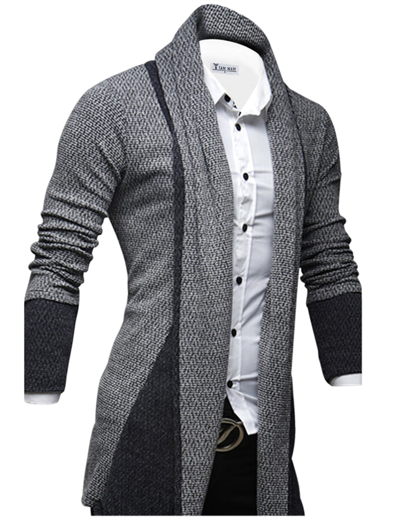 TAM WARE Men's Classic Slim Fit Marled Zigzag Shawl Collar Cardigan
