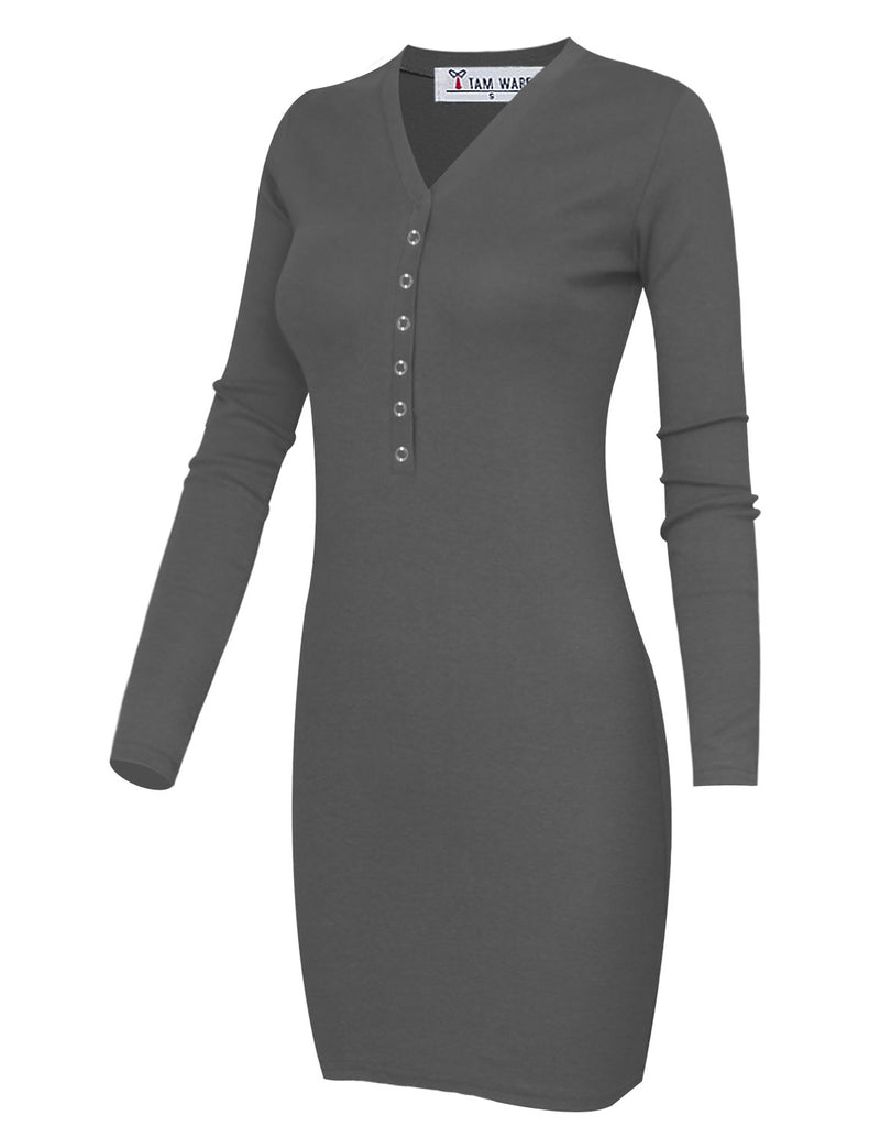 TAM WARE Women's Casual Slim Fit V Neck Snap Button Bodycon Mini Dress
