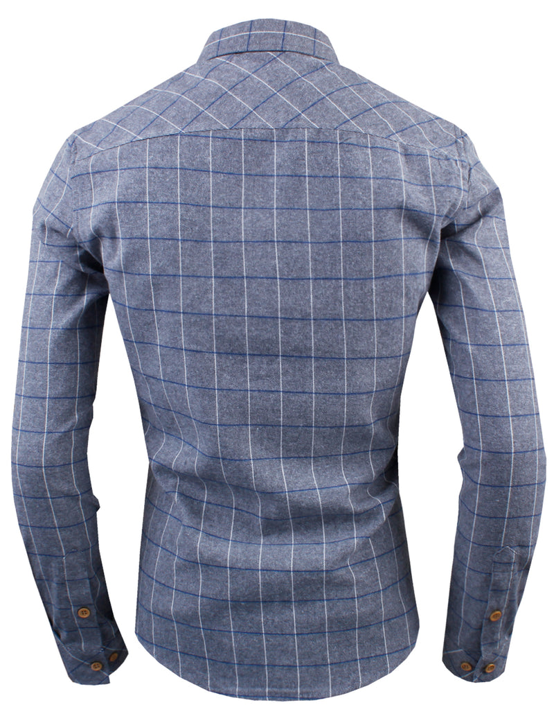 TAM WARE Men's Classic Slim Fit Tartan Plaid Long Sleeve Shirt