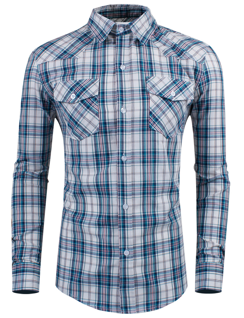 TAM WARE Men's Slim Fit Cotton Plaid Pocket Long Sleeve Dress Shirt