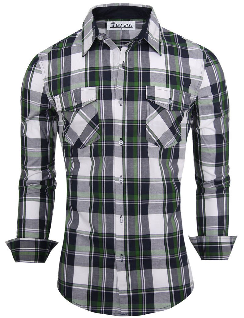 TAM WARE Men's Slim Fit Button Down Long Sleeve Plaid Shirt