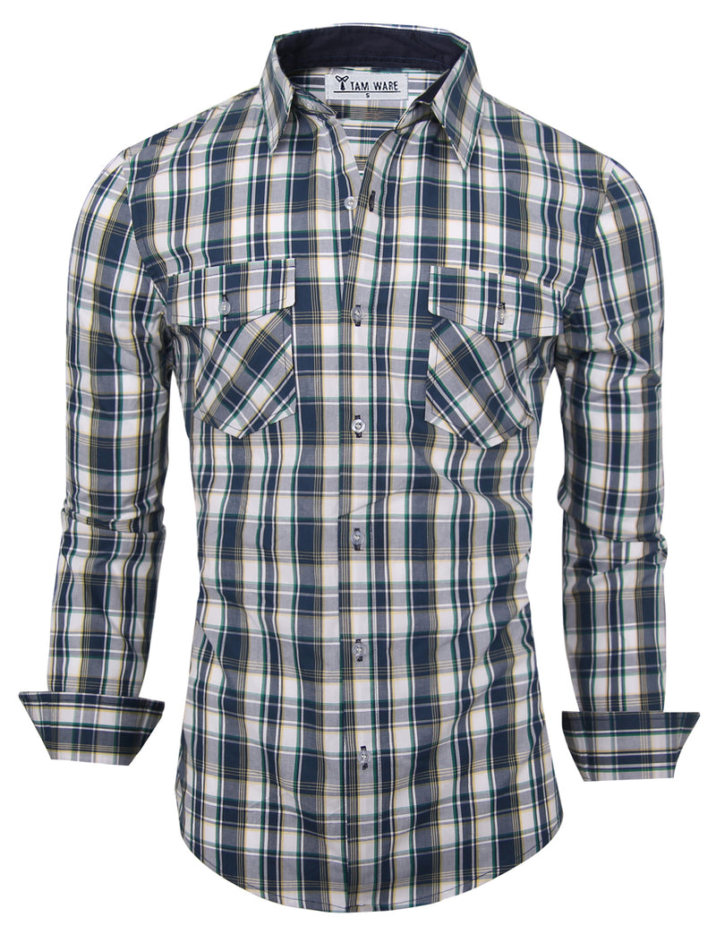 TAM WARE Men's Classic Slim Fit Button Down Long Sleeve Plaid Shirt
