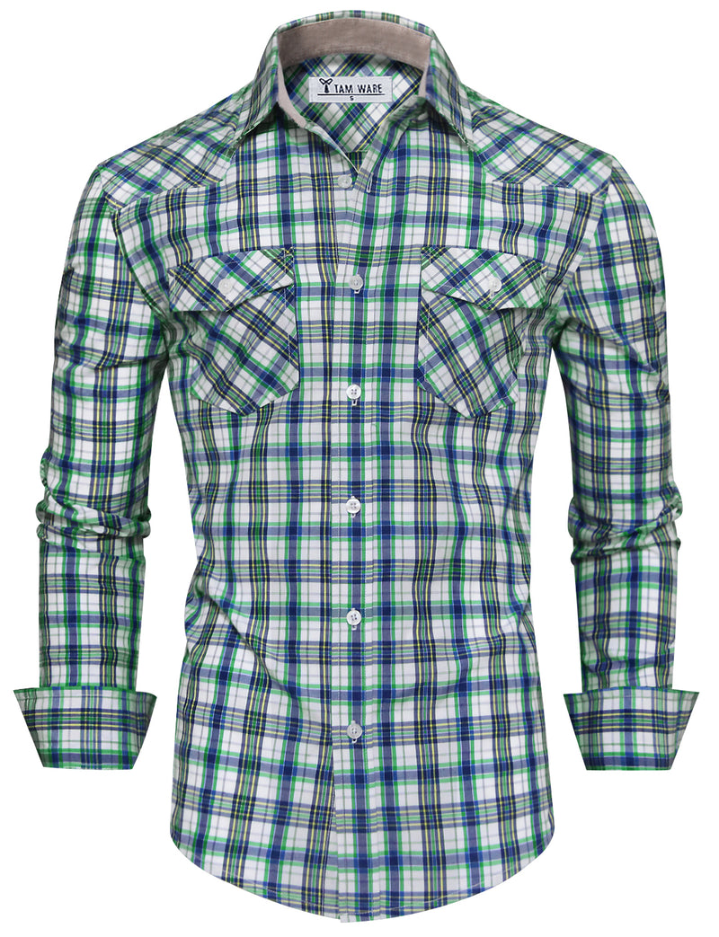 TAM WARE Men's Classic Chest Pockets Checkered Long Sleeve Button Down Shirt