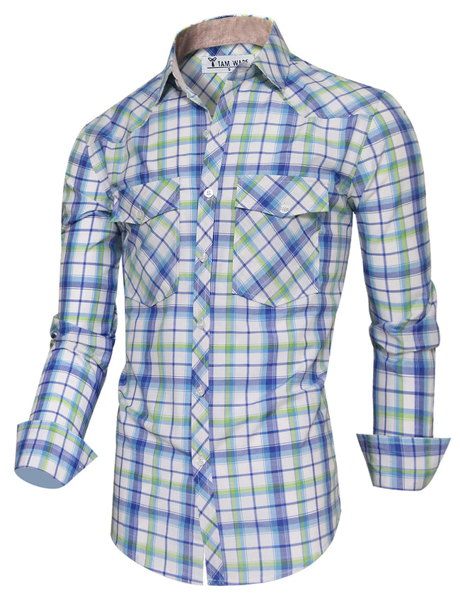 TAM WARE Men's Flap Pockets Checkered Long Sleeve Button Down Shirt