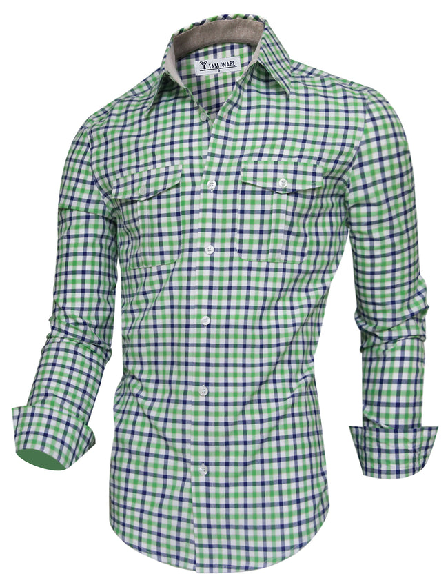 TAM WARE Men's Classic Checkered Long Sleeve Button Down Shirt