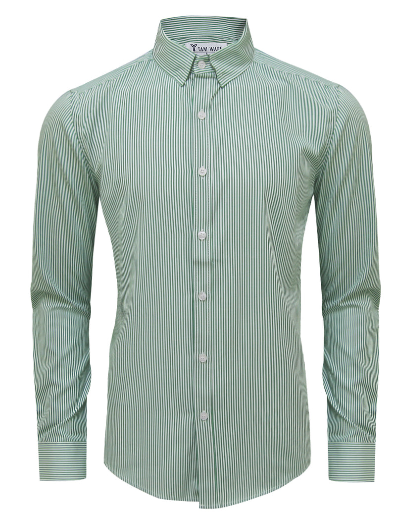 TAM WARE Men's Casual Vertical Striped Long Sleeve Button Down Shirt