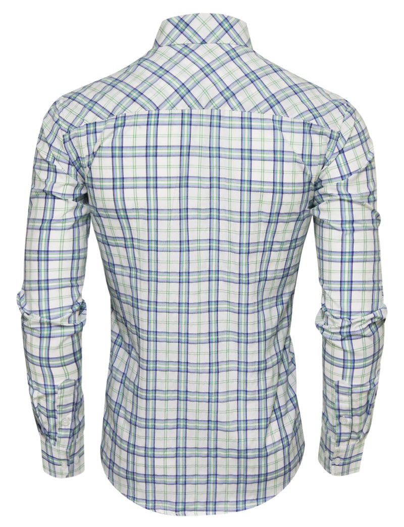 TAM WARE Men's Casual Slim Fit Checkered Long Sleeve Button Down Shirt