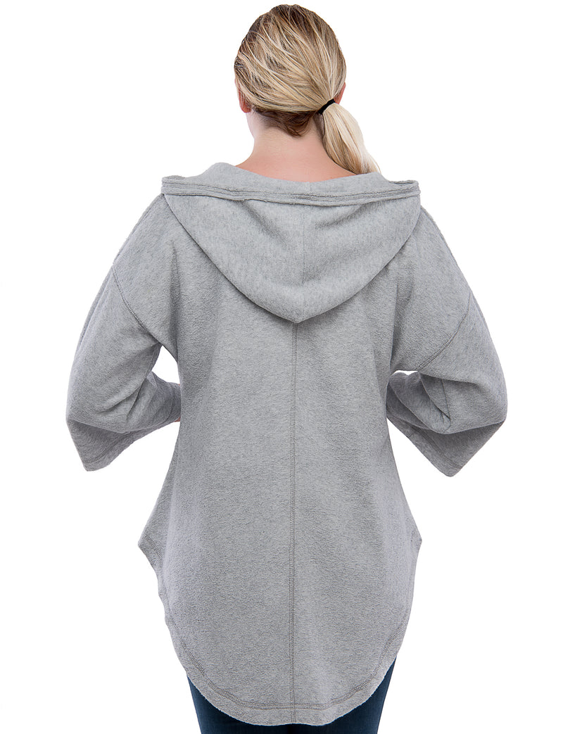 TAM WARE Women's Wide Hem 3/4 Sleeve Hoodie Top (Made in USA)-TWAWD3605