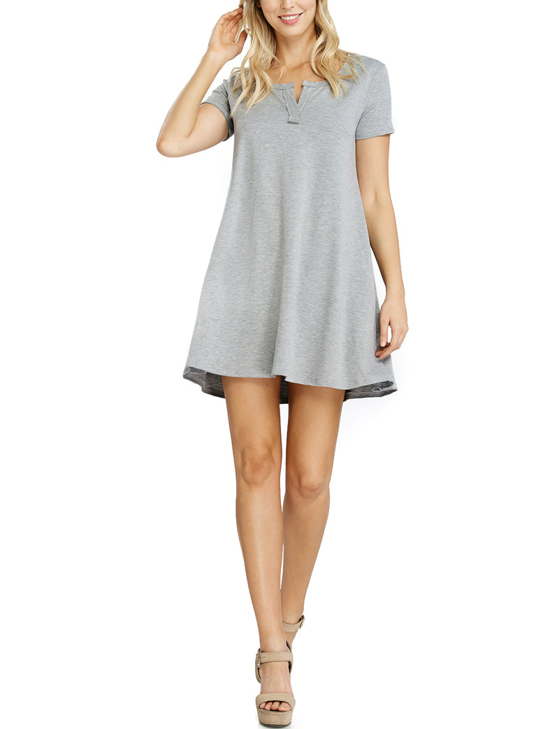 TAM Ware Women's Plain Short Sleeve Loose Swing T-Shirt Dress (Made in USA)-TWAWD152