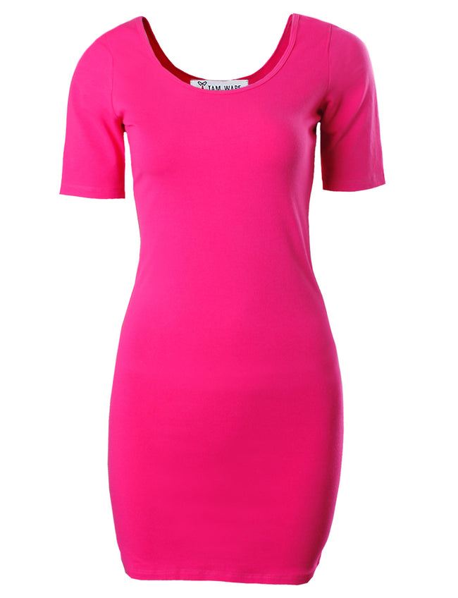 TAM WARE Women's Casual Slim Fit Short Sleeve Bodycon Mini Dress