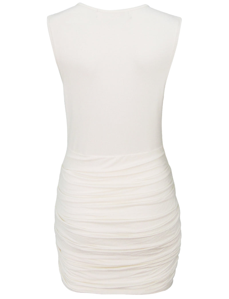 TAM WARE Women's V-Neck Sleeveless Faux Wrap Ruched Cocktail Bodycon Mini Dress