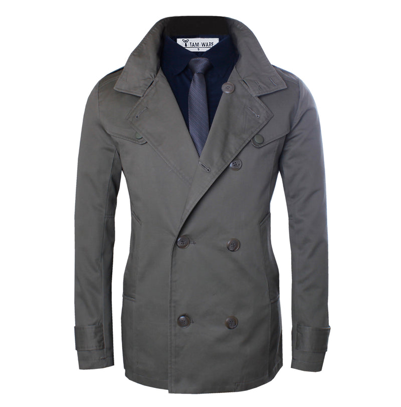 TAM WARE Men's Casual Slim Fit Double Breasted Pea Coat