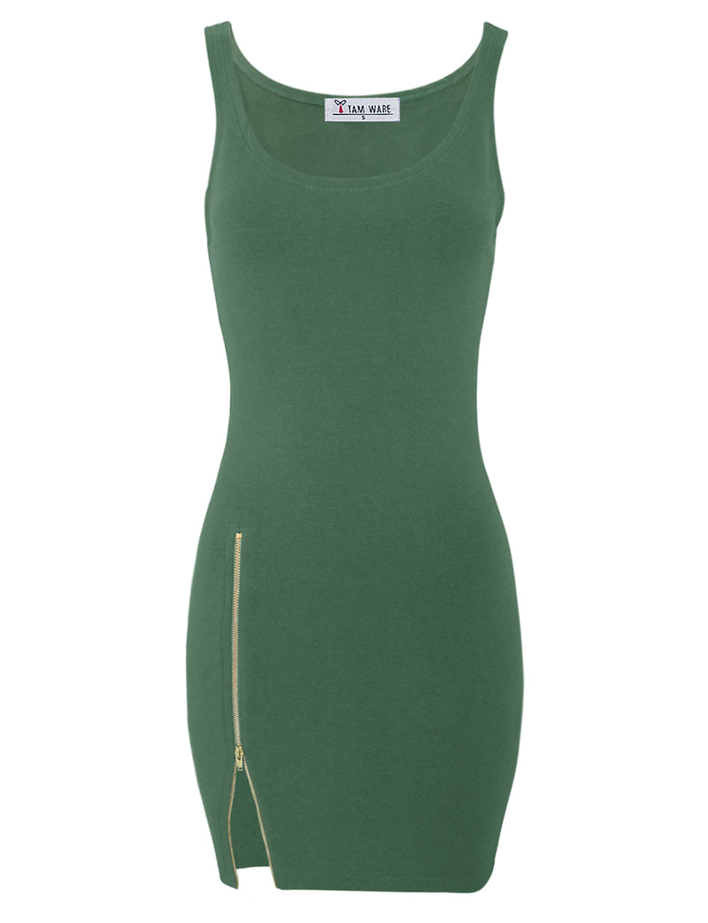 TAM WARE Women's Stylish Side Zip Tank Bodycon Mini Tee Dress
