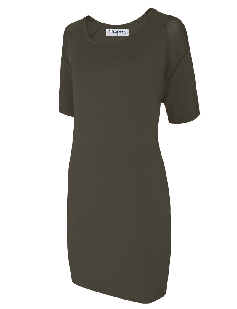 TAM WARE Women's Elegant Short Sleeve Pull On Loose Fit Dress