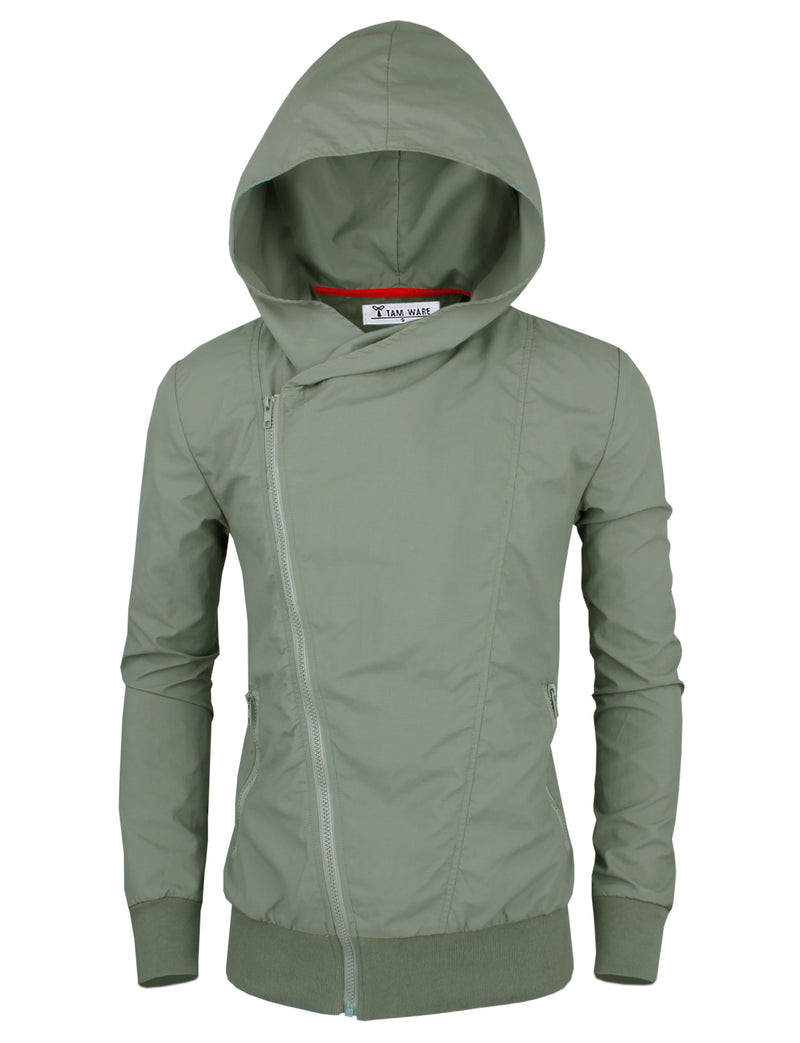 TAM WARE Men's Stylish Asymmetrical Zip Up Hoodie Windbreaker Jacket