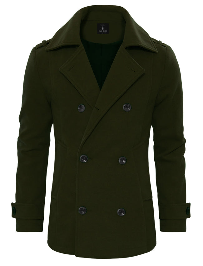 TAM WARE Men's Stylish Wool Blend Double Breasted Pea Coat (TWCC10)