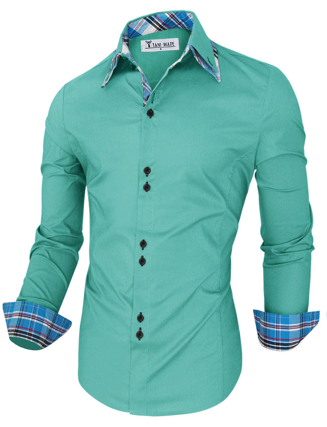TAM WARE Men's Trendy Slim Fit Inner Checkered Button Down Shirt
