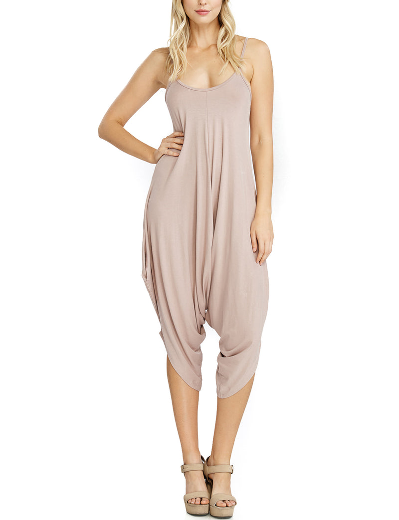 TAM WARE Women's Spaghetti Strap Ruched Stretchy Jumpsuit (Made In USA)-TWAWD151