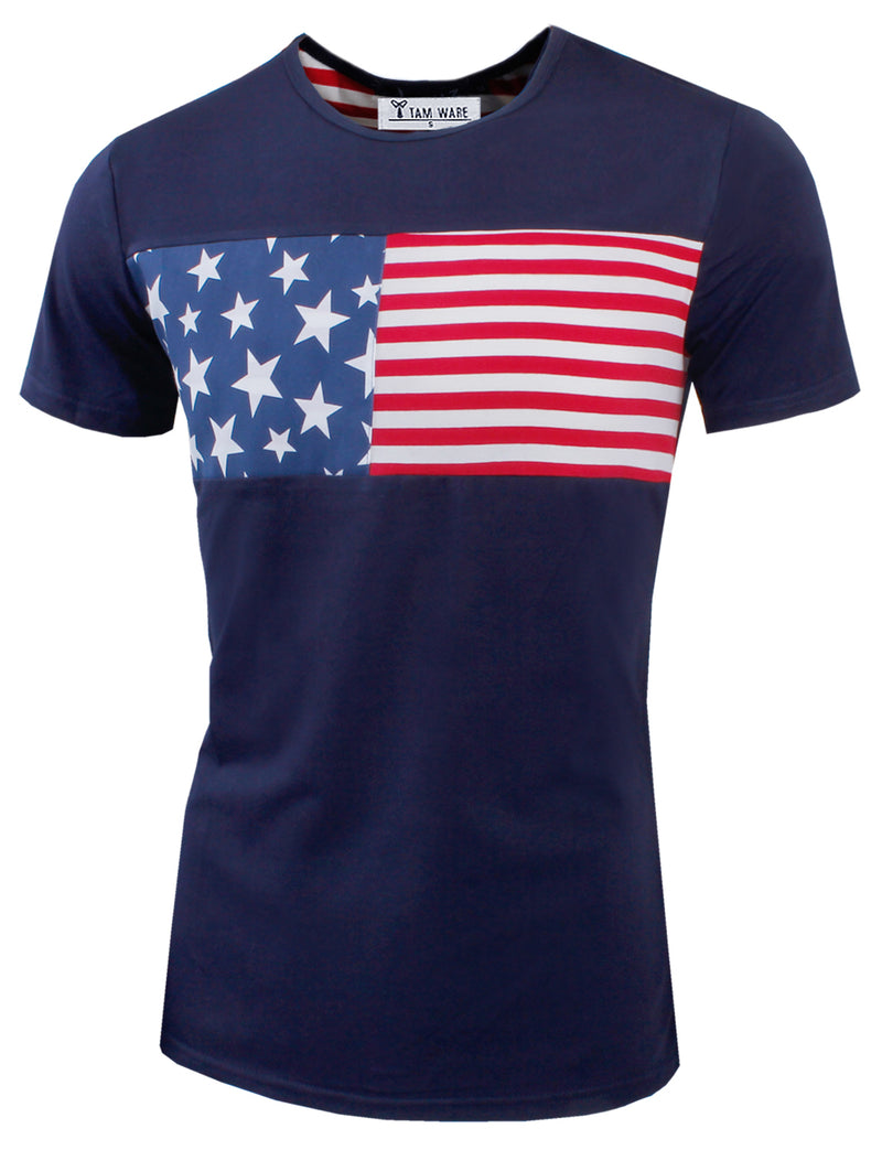 TAM WARE Men's Slim Fit USA Flag Printed T-shirts