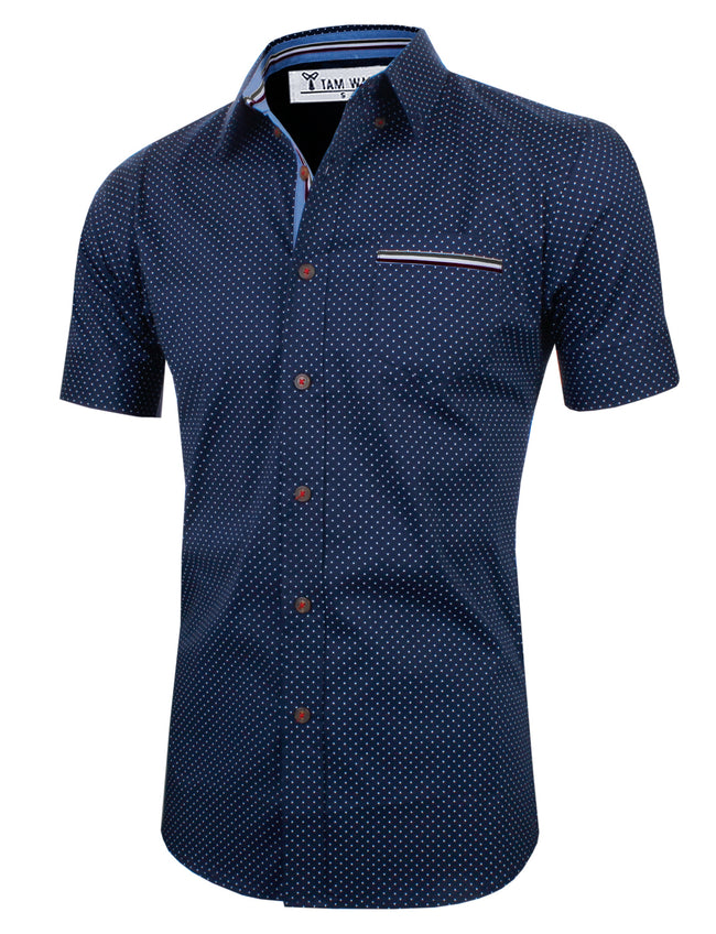 TAM WARE Men's Casual Dotted Slim Fit  Contrast Inner Trim Shortsleeve Shirts