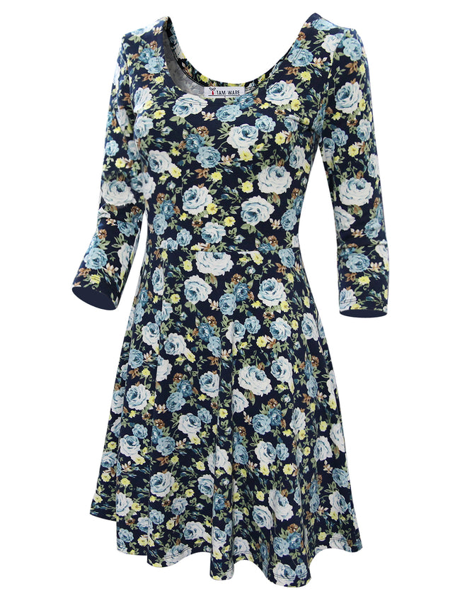TAM WARE Women's Floral Print Long Sleeve Scoop Neck Flare Dress