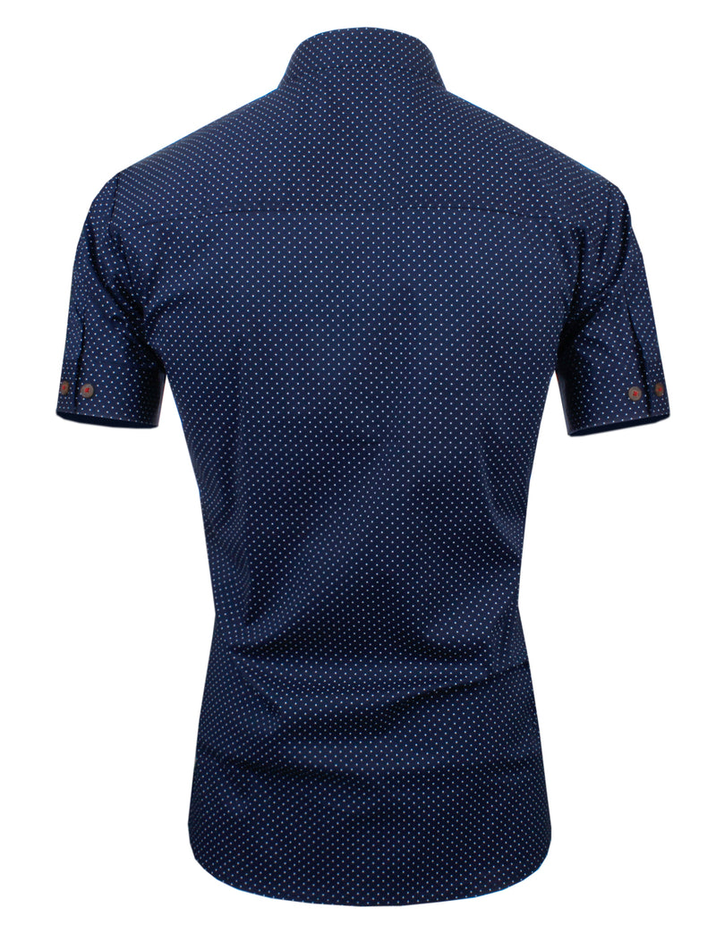 TAM WARE Men's Casual Dotted Slim Fit  Contrast Inner Trim Short Sleeve Shirts (BLUE)