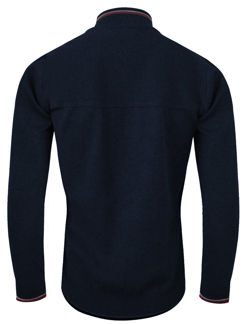 TAM WARE Mens Casual Contrast Hem Full Zip Knit Sweatshirts