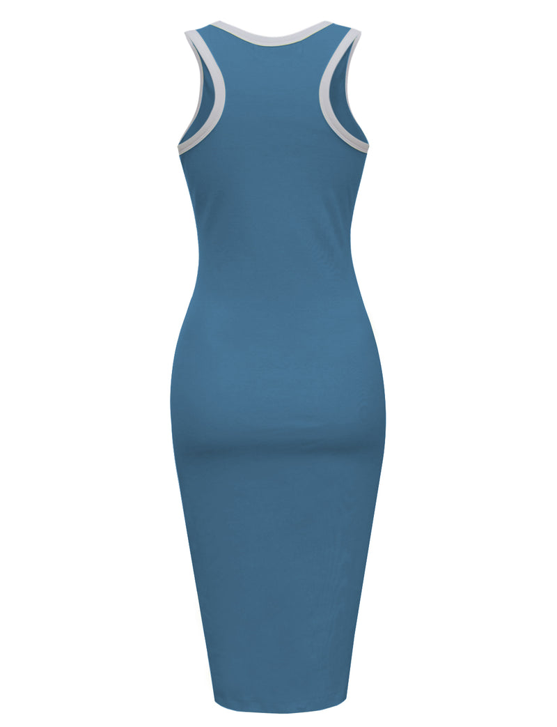 TAM WARE Women's Casual Racerback Bodycon Tank Midi Dress