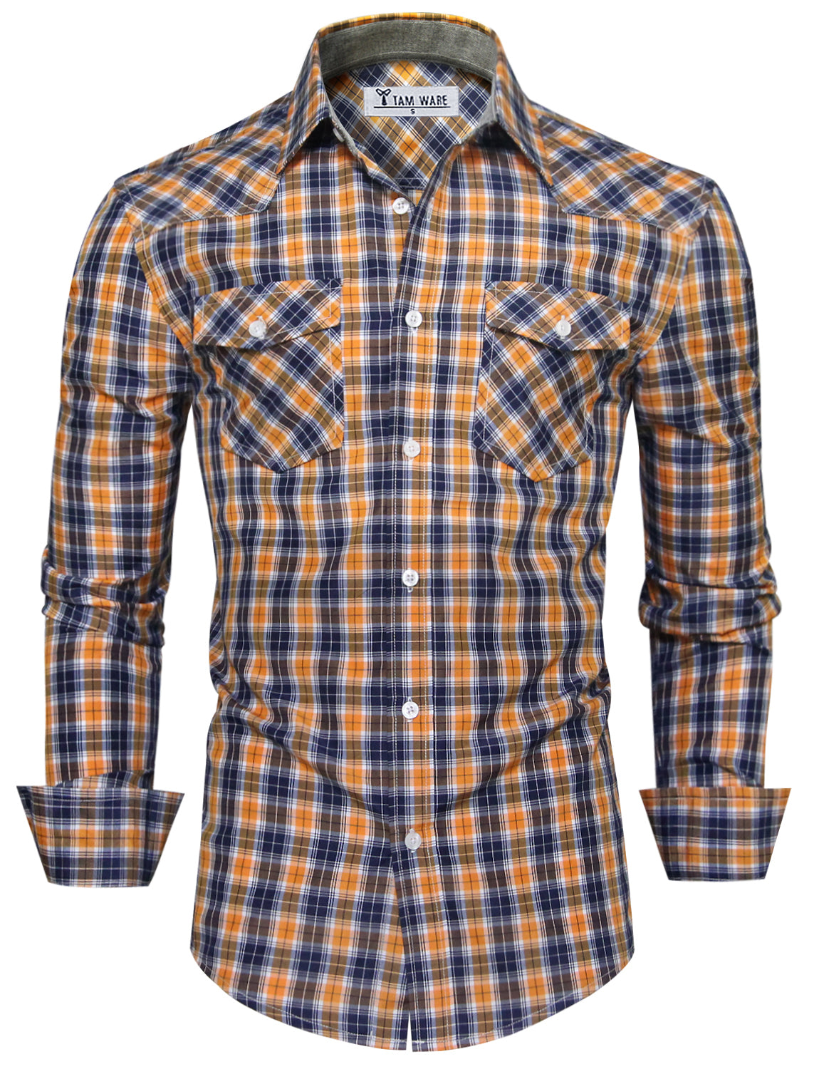TAM WARE Men's Chest Pockets Checkered Long Sleeve Button Down Shirt