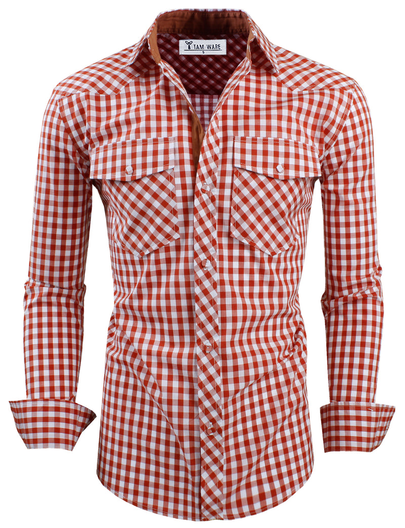 TAM WARE Men's Slim Fit Buffalo Plaid Long Sleeve Dress Shirt