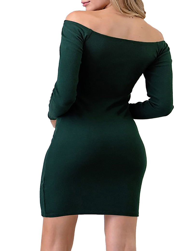 TAM WARE Women Front Snap Button Off Shoulder Bodycon Mini Dress
