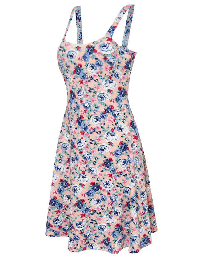 TAM WARE Women's Stylish Floral Print Adjustable Strap Skater Dress