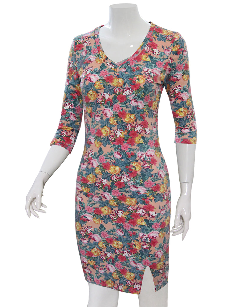 TAM WARE Women's Stylish Floral Print 3/4 Sleeve Bodycon Dress