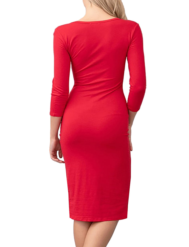 TAM WARE Women Round Neck 3/4 Sleeve Bodycon Midi Dress