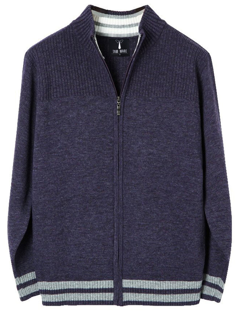 TAM WARE Men's Casual Contrast lines Zip-up Sweater Cardigan
