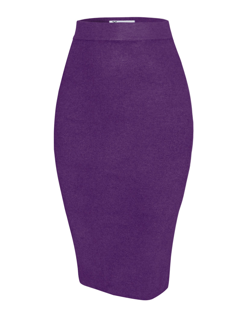 TAM WARE Women's Casual Knit Knee Length Slit Pencil Skirt