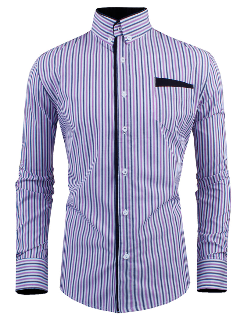 TAM WARE Men's Classic Slim Fit Vertical Striped Long Sleeve Dress Shirt
