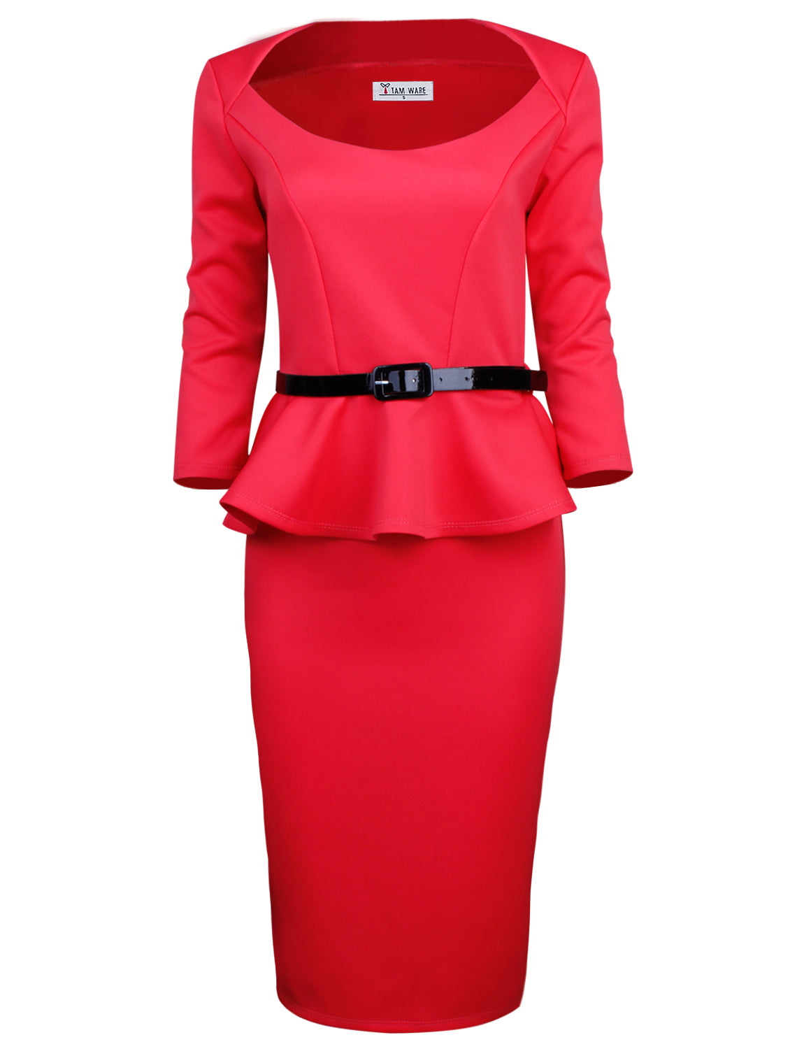 TAM WARE Women's 3/4 Sleeve Belted Peplum Midi Dress