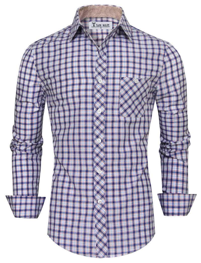 TAM WARE Men's Stylish Chest Pocket Checkered Long Sleeve Button Down Shirt