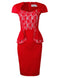 TAM WARE Women's Elegant Hybrid Peplum Dress with Lace Insert