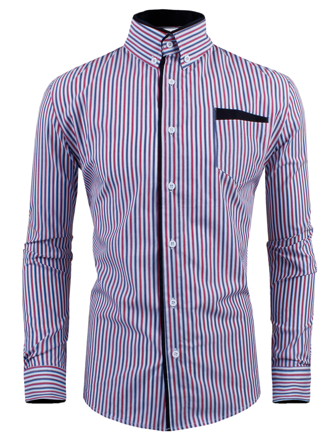 Coolred-Men Patched Button-Front Contrast Business Slim Fit Classic Shirt