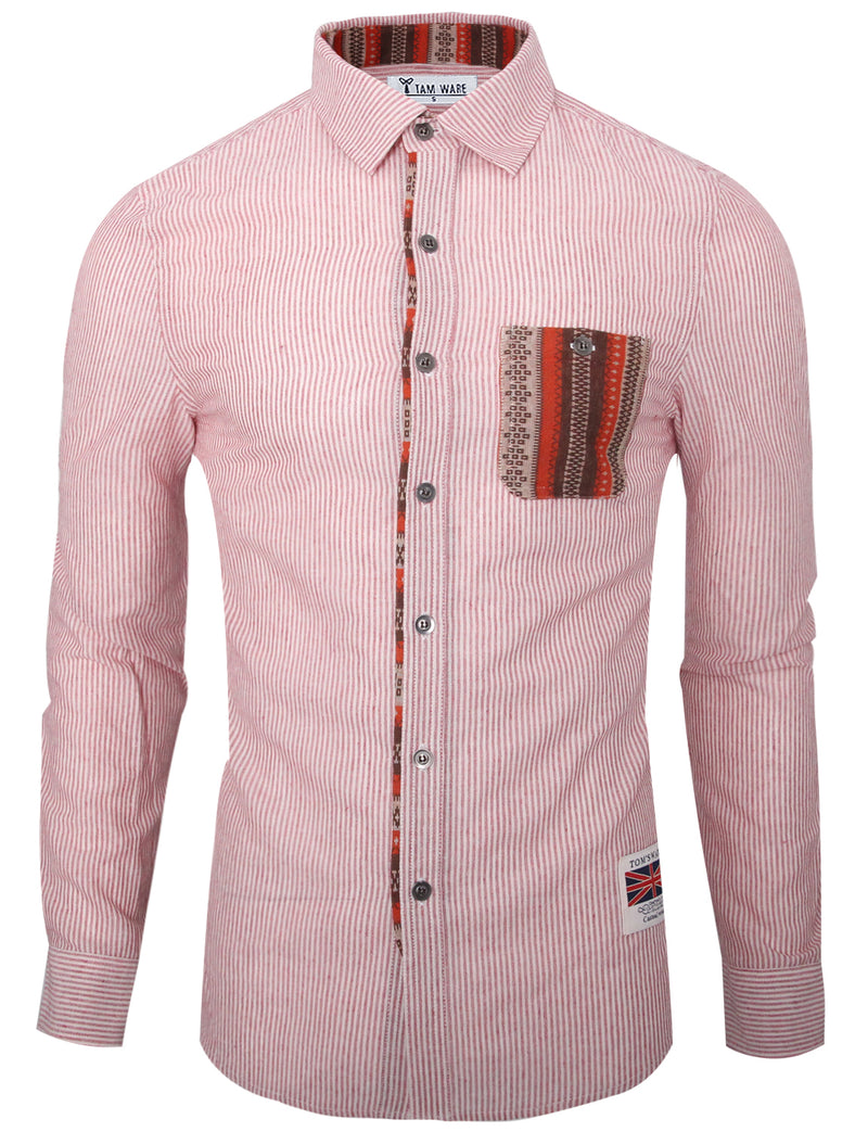 TAM WARE Men's Trendy Slim Fit Inner Contrast Button Down Stripe Shirt