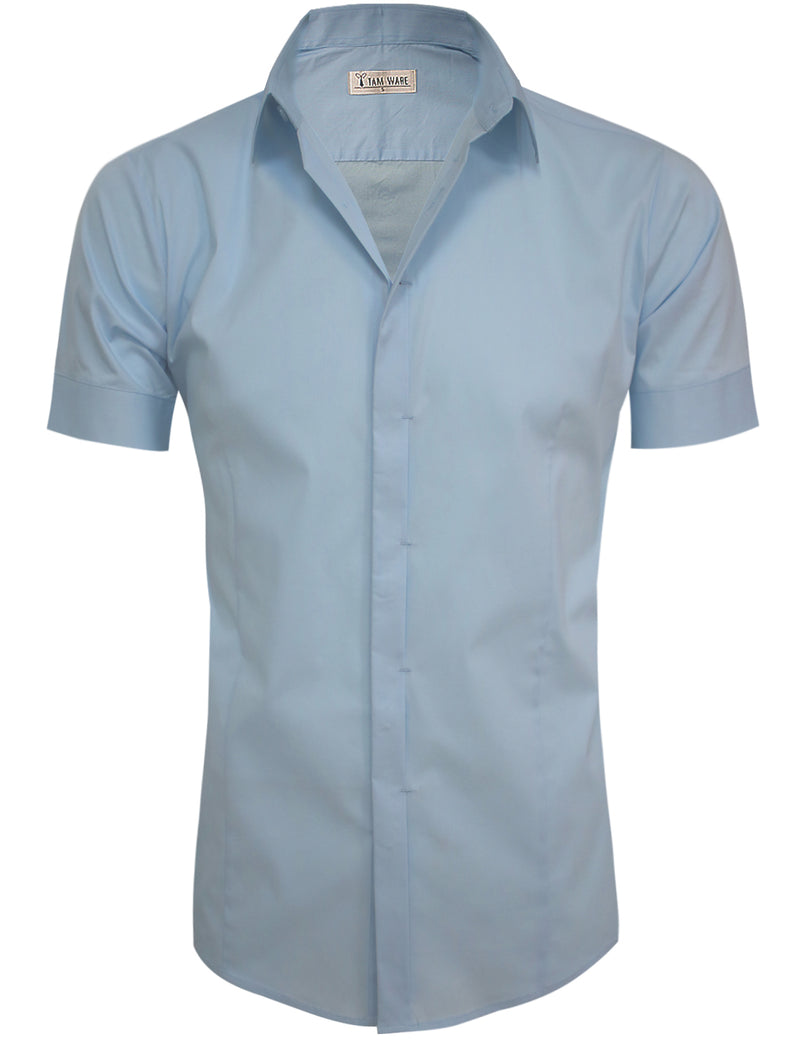 TAM WARE Men's Hidden Button Short Sleeve Dress Shirts