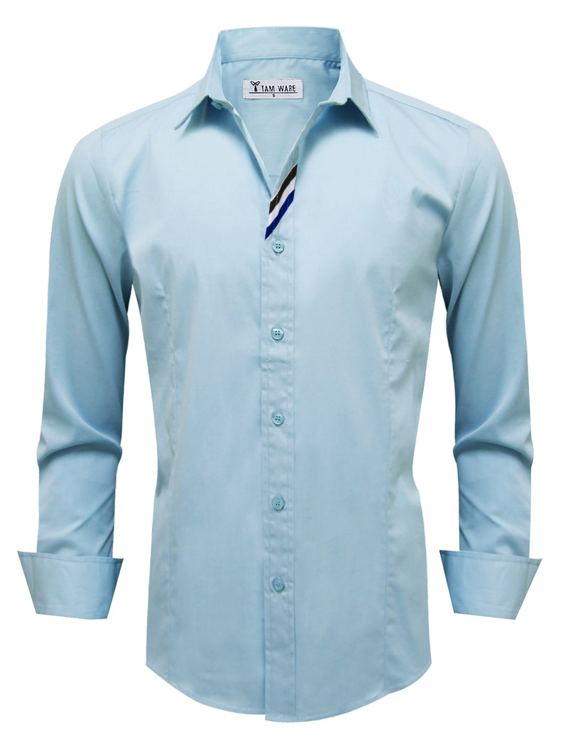 TAM WARE Men's Stylish Long Sleeve Button Down Shirt (BLUE)