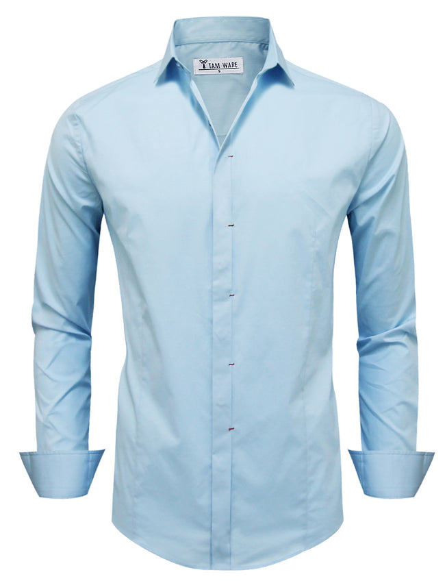 TAM WARE Men's Classic Long Sleeve Plain Dress Shirt