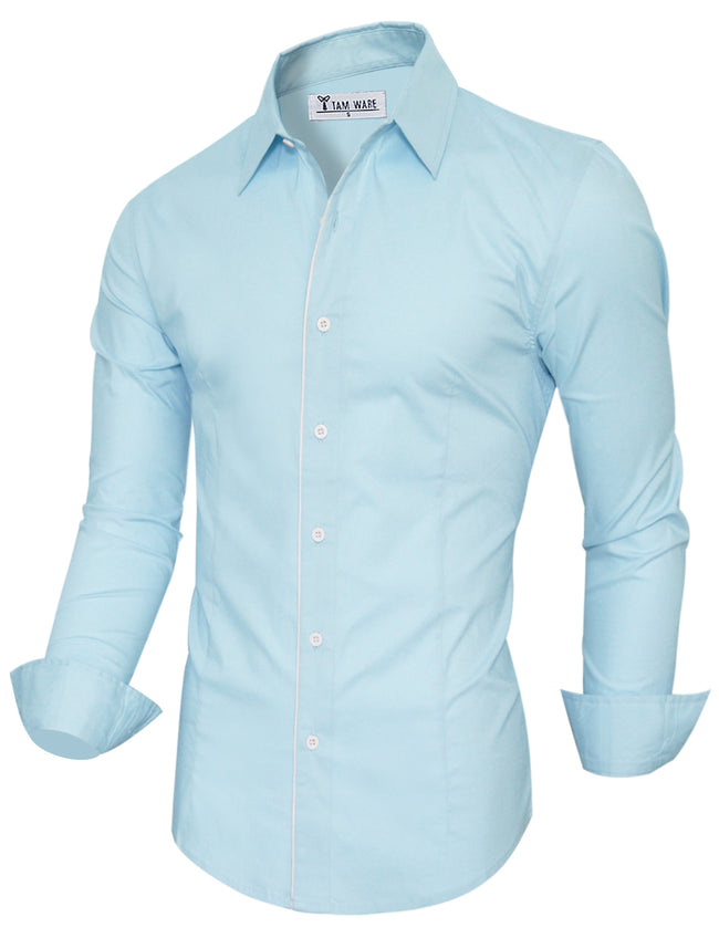 TAM WARE Men's Stylish Long Sleeve Plain Dress Shirt