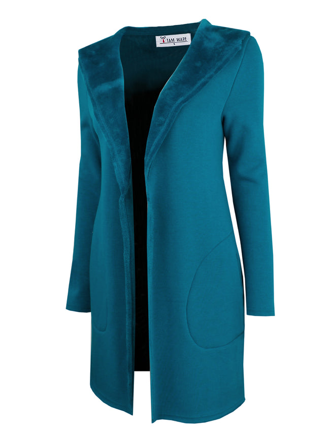 TAM WARE Women's Stylish Open Front Knit Shawl Hoodie Coat