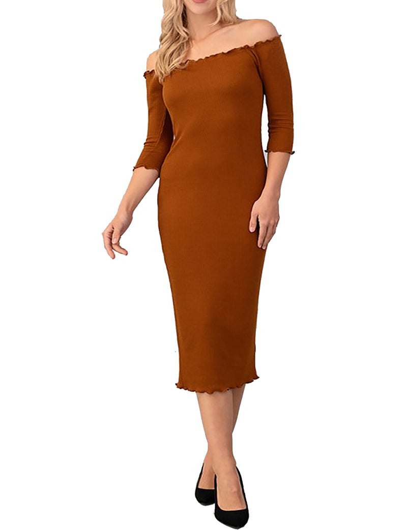TAM WARE Women Merrow Edge Off Shoulder 3/4 Sleeve Bodycon Midi Dress