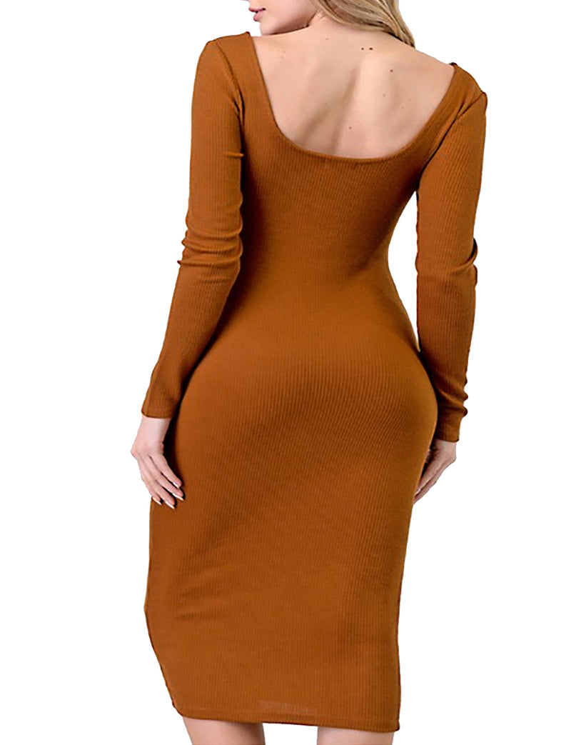 TAM WARE Women Squre Neck Long Sleeve Hacci Ribbed Bodycon Midi Dress